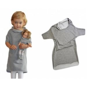 szara sukienka dresowa dla dziewczynki i lalki nowy-500x500